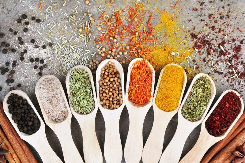 Kleurrijke mengeling van kruid en kruidverscheidenheden stock afbeelding