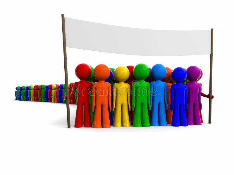Kleurrijke menigte met een banner