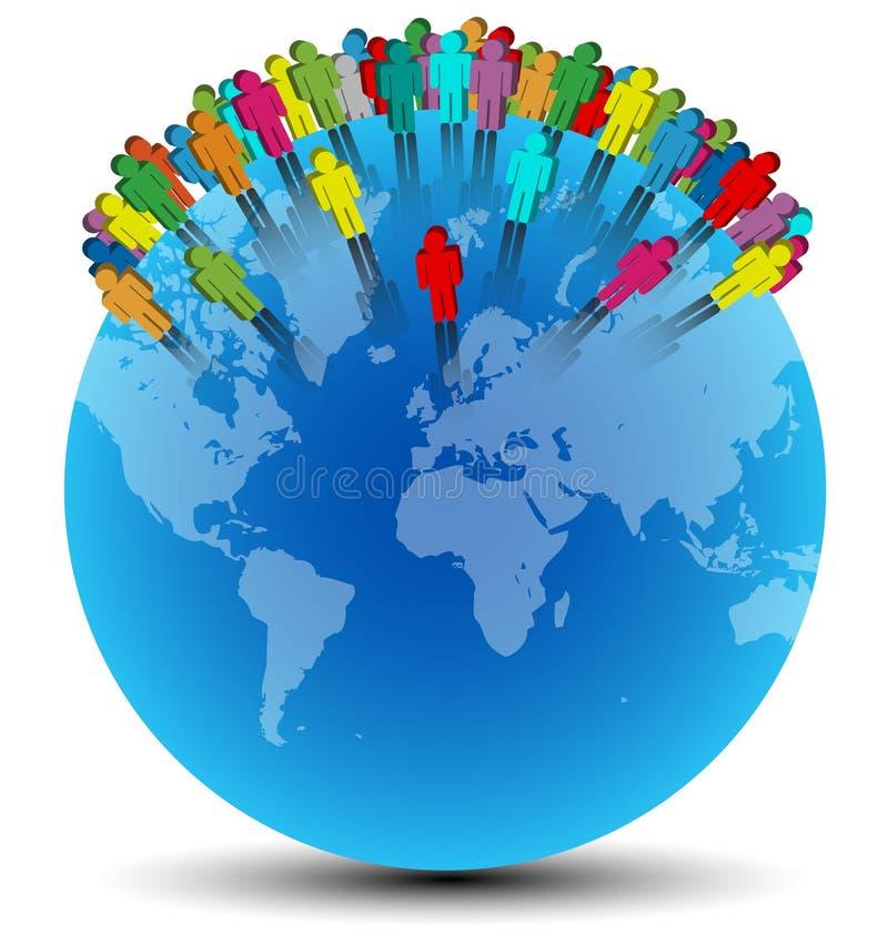 Kleurrijke menselijke die willekeurige symbolen op blauwe wereld worden geplaatst stock illustratie