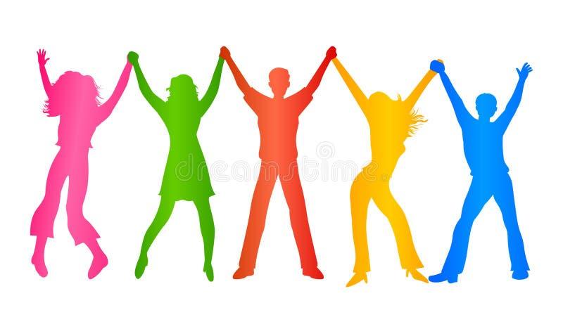 Kleurrijke mensen die handen houden De illustratie van diversiteitsmensen stock illustratie