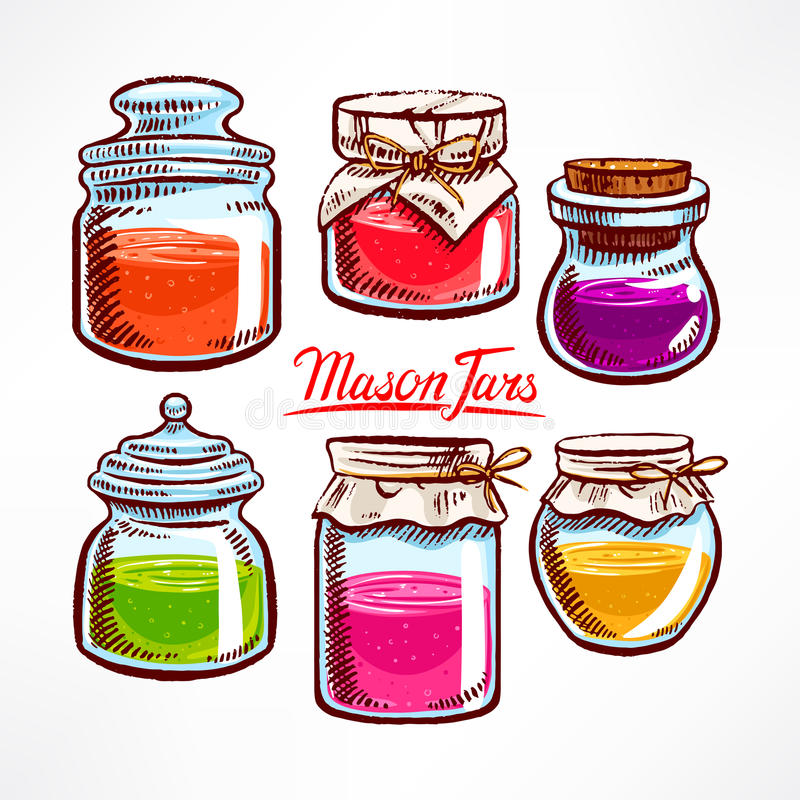 Kleurrijke metselaarkruiken - 2 vector illustratie