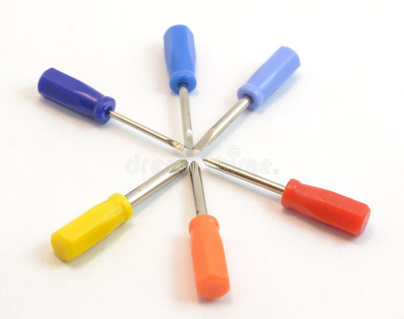 Kleurrijke minicrewdriverbeetjes stock foto