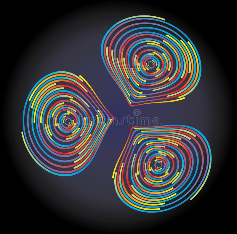 Kleurrijke misvormde cirkelsachtergrond stock illustratie