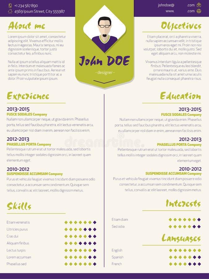 Kleurrijke modern hervat curriculum vitaemalplaatje met ontwerp ele stock illustratie