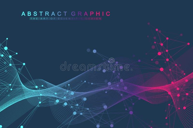 Kleurrijke moleculesachtergrond DNA-schroef, DNA-bundel, DNA-Testmolecule of atoom, neuronen Abstracte structuur voor royalty-vrije illustratie