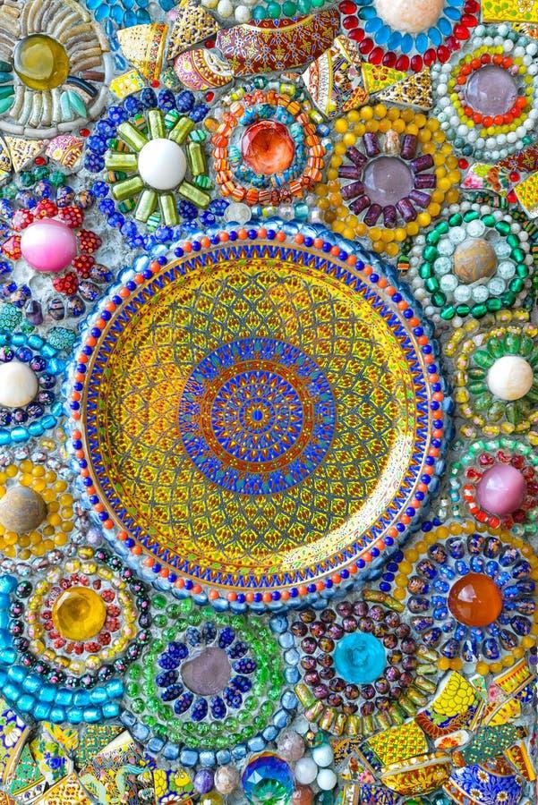 Kleurrijke mozaïekkunst en abstracte muurachtergrond. royalty-vrije stock foto