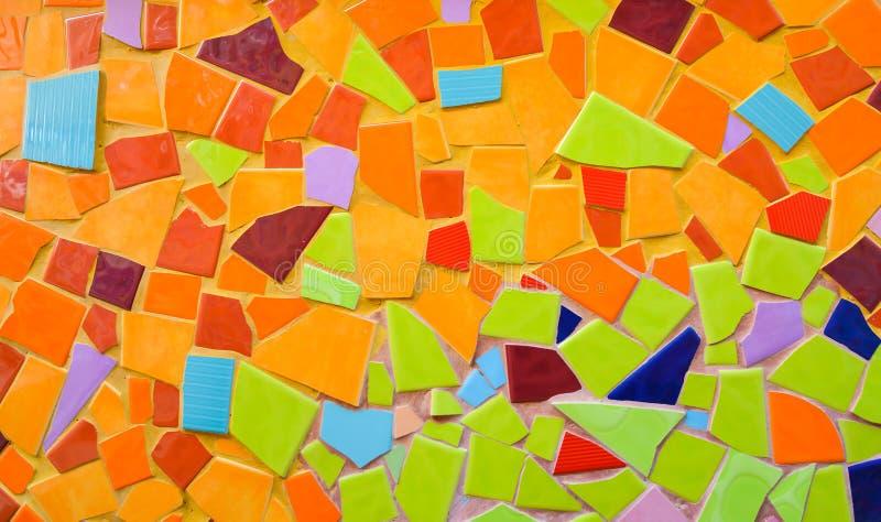 Kleurrijke mozaïekkunst en abstracte muurachtergrond. stock afbeeldingen