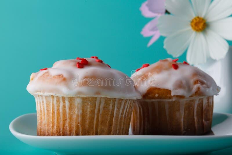 Kleurrijke muffin op schotel met bloem De achtergrond van de Aquakleur stock afbeelding