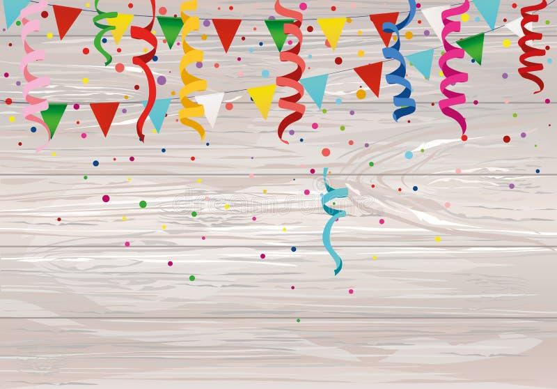 Kleurrijke multicolored confettien en slinger van vlaggen Vakantie bir vector illustratie