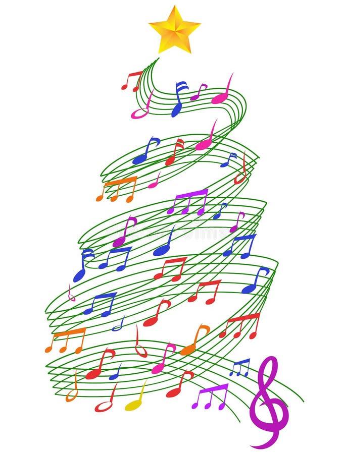 Kleurrijke Muziekkerstboom royalty-vrije illustratie