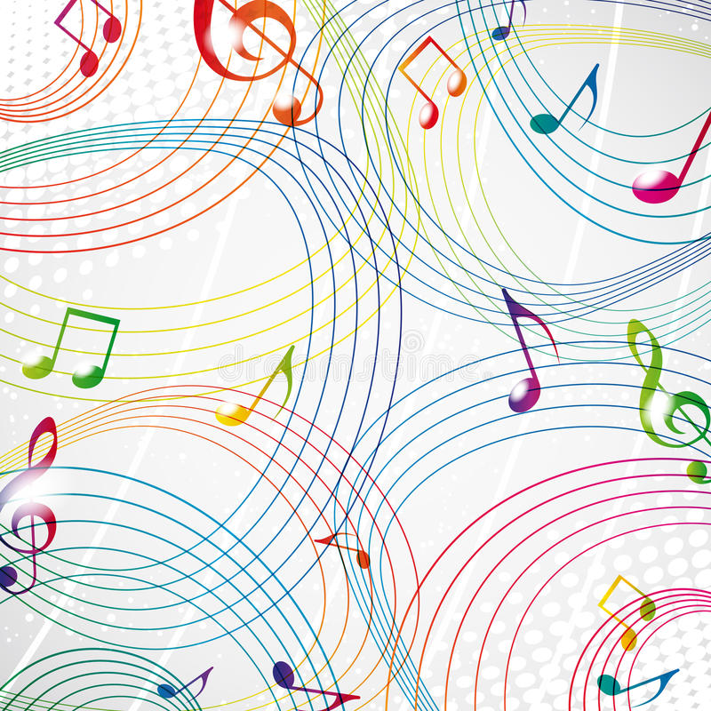 Kleurrijke muzieknota over een grijze achtergrond. vector illustratie
