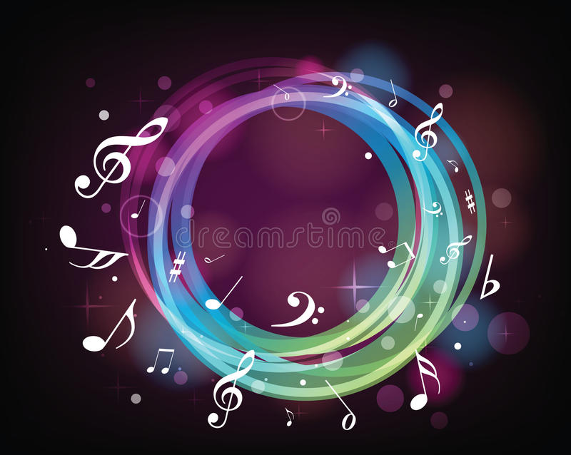 Kleurrijke muzieknota's royalty-vrije illustratie