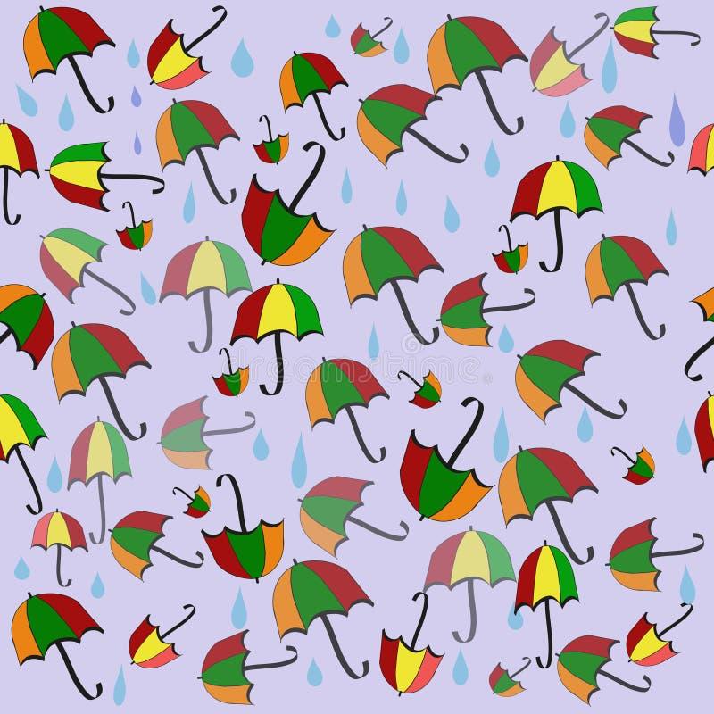 Kleurrijke naadloze achtergrond met paraplu's en regenachtige dalingen royalty-vrije stock foto's