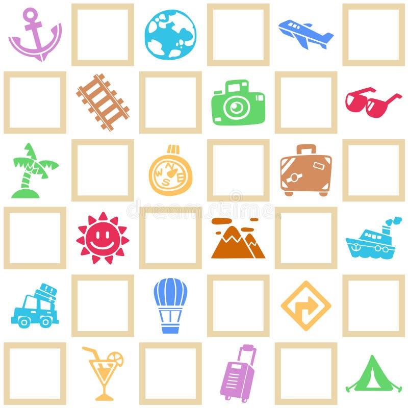Kleurrijke naadloze achtergrond van reis/vakantiepatroonthema stock illustratie