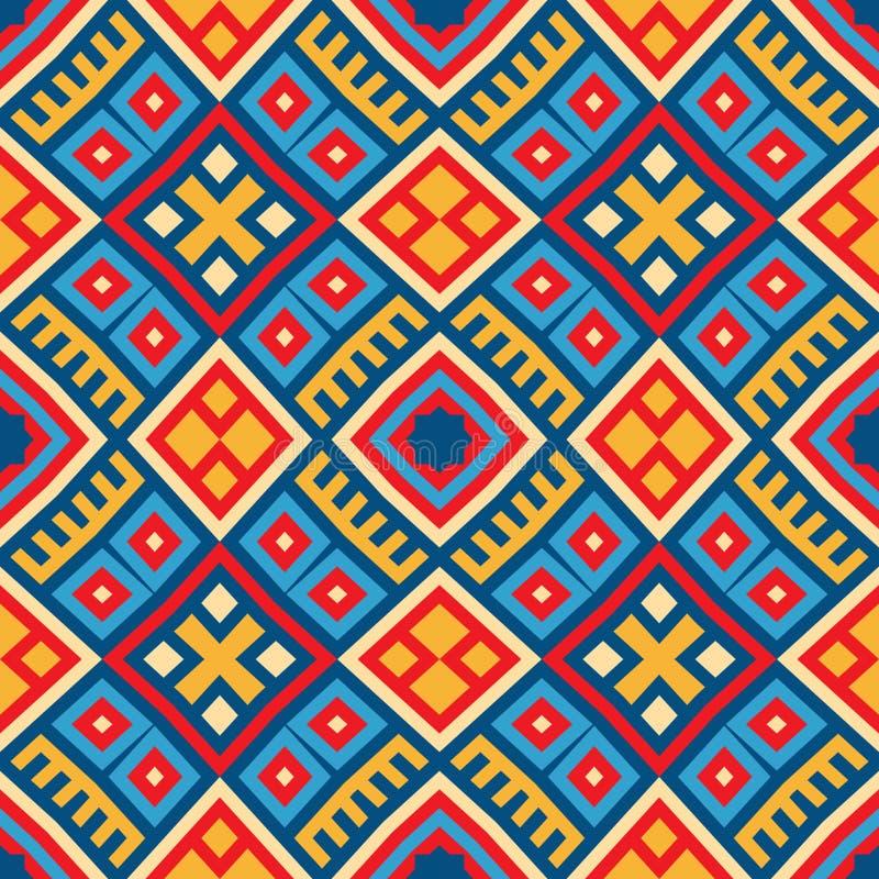 Kleurrijke naadloze etnische patroonachtergrond stock illustratie