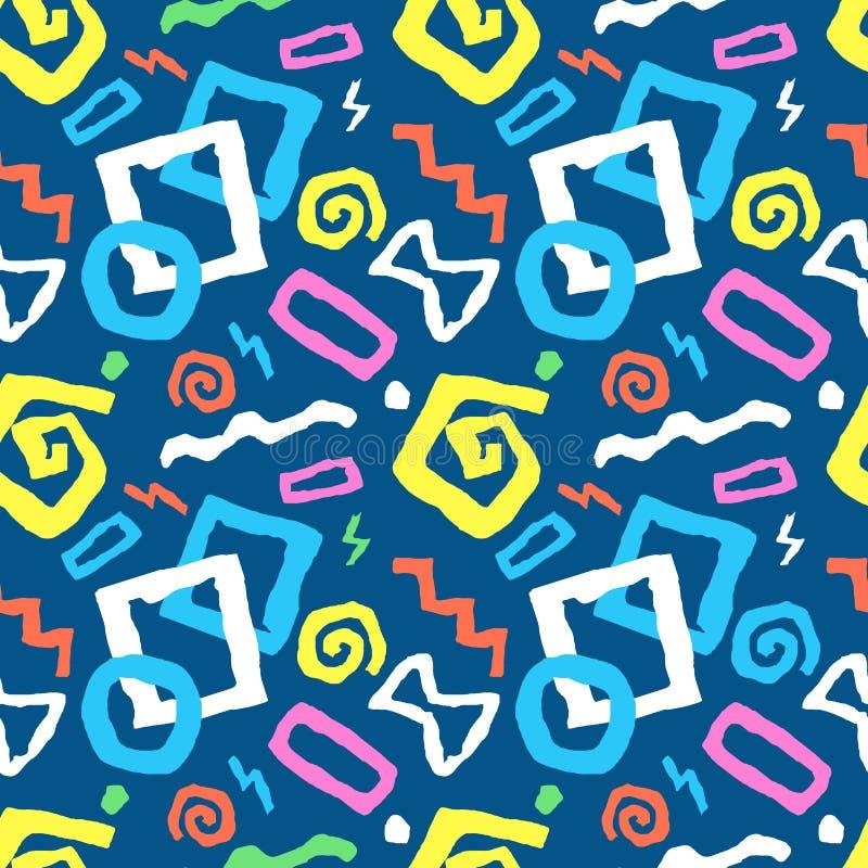 Kleurrijke Naadloze het patroon vectorillustratie van de krabbelkunst in blauw vector illustratie