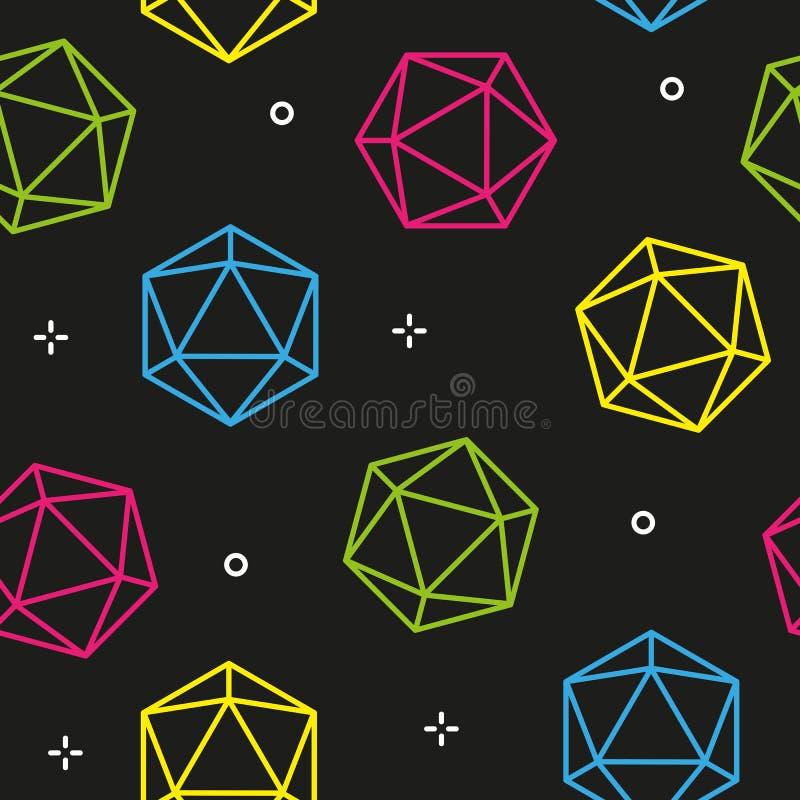 Kleurrijke naadloze het patroonvector van lijn hexagon diamanten vector illustratie