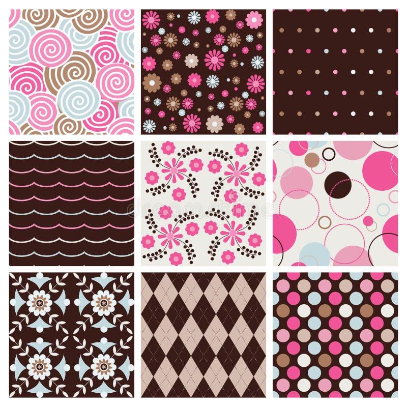 Kleurrijke naadloze patronen stock illustratie