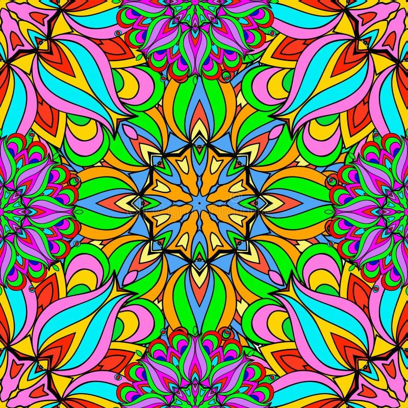 Kleurrijke naadloze patroonmandala royalty-vrije stock afbeelding
