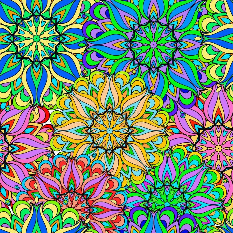 Kleurrijke naadloze patroonmandala stock foto's