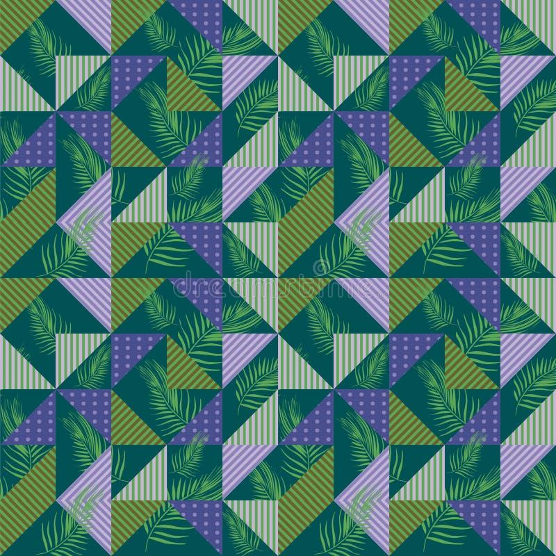 Kleurrijke naadloze patroonvector met palmbladen en geometrische driehoek vector illustratie
