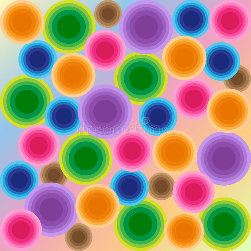 Kleurrijke naadloze psychedelische discocirkels - geïllustreerde achtergrond stock illustratie