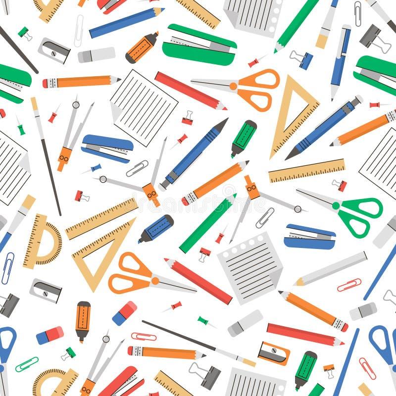Kleurrijke Naadloze textuur met de vlakke hulpmiddelen van de pictogrammenschool vector illustratie