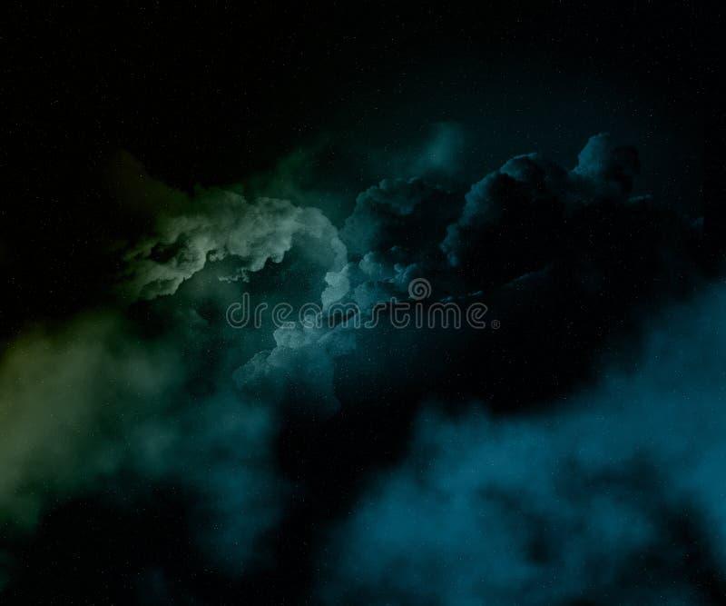 Kleurrijke nachthemel met sterren en nevel vector illustratie