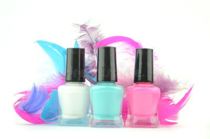 Kleurrijke nagellakflessen royalty-vrije stock foto's