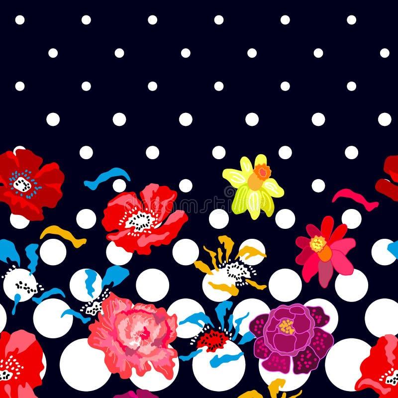 Kleurrijke narcissen en pioenen op donkere achtergrond royalty-vrije illustratie
