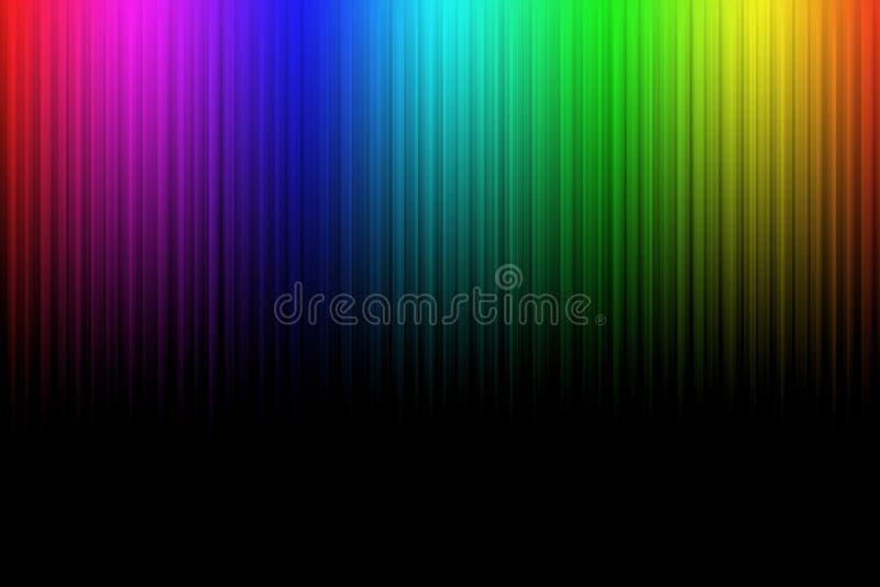 Kleurrijke neon abstracte lijnen op zwarte achtergrond royalty-vrije illustratie