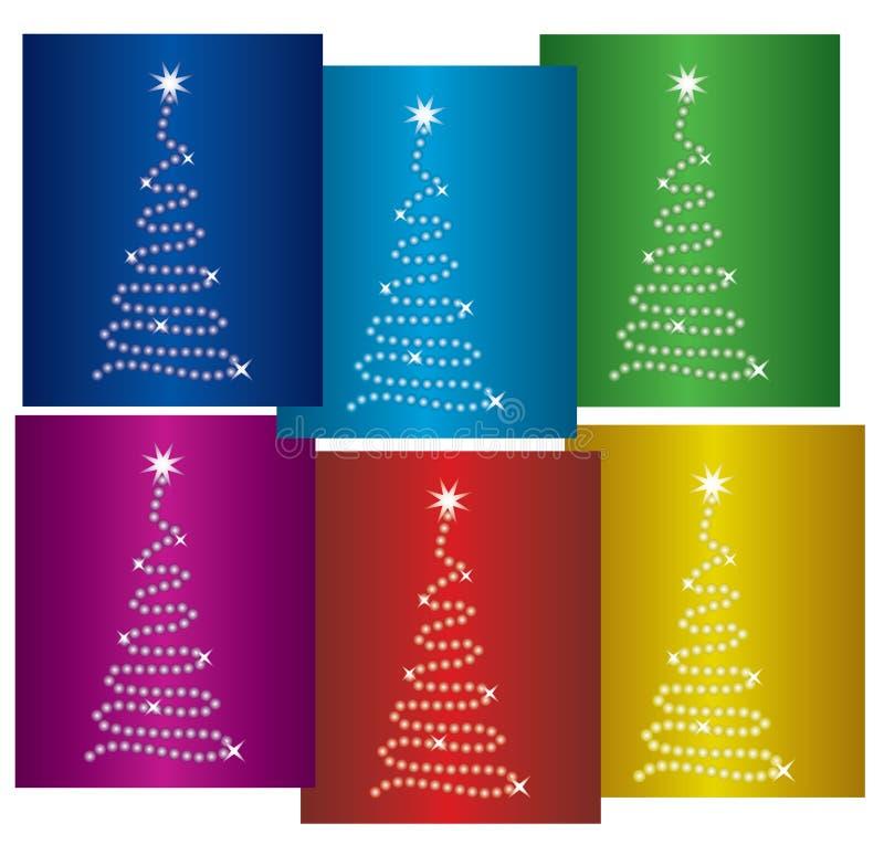 Kleurrijke nieuwe jaarbomen stock illustratie