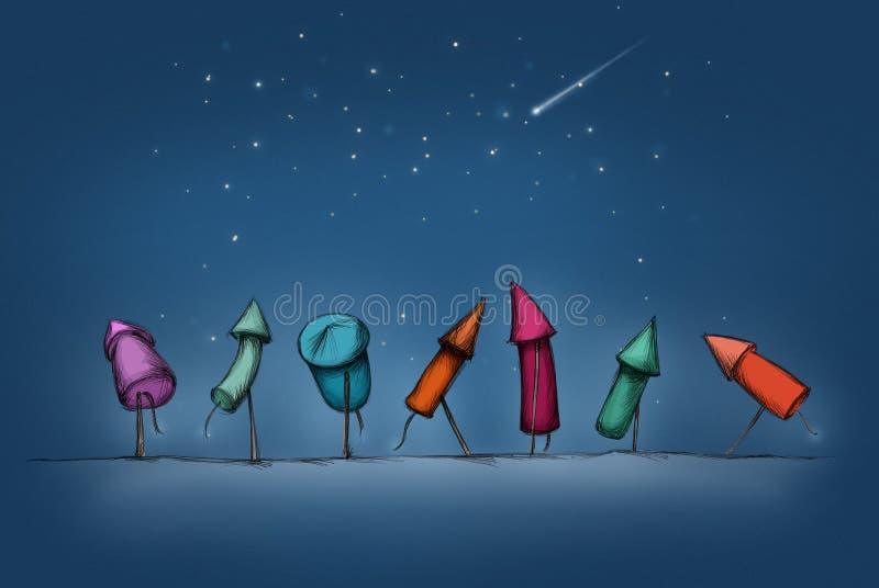 Kleurrijke Nieuwjaarraketten op een rij stock illustratie
