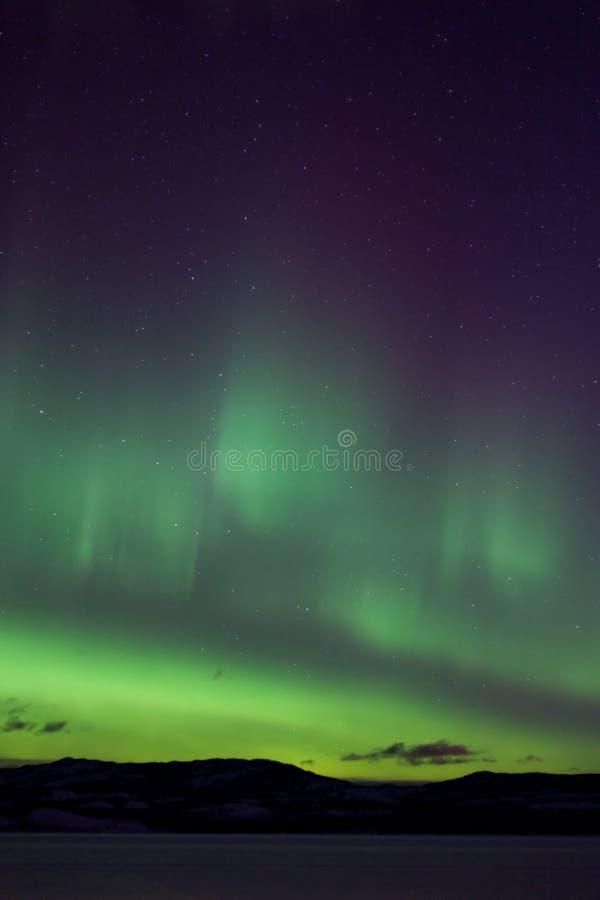 Kleurrijke noordelijke lichten (dageraadborealis) stock foto