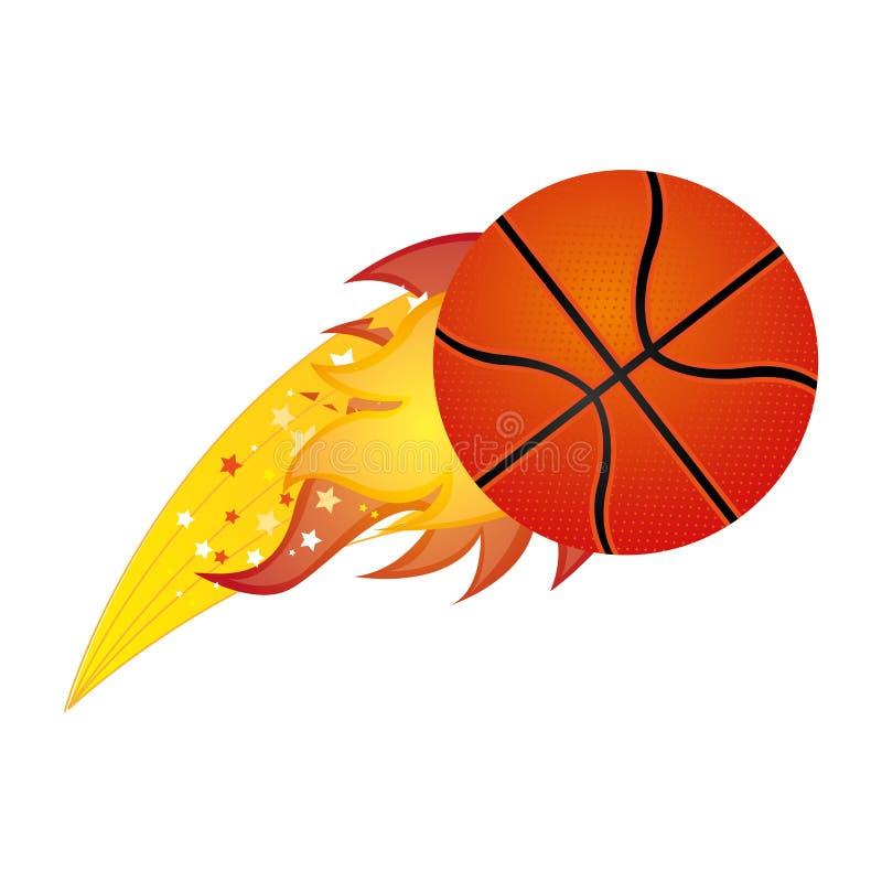 kleurrijke olympische vlam met basketbalbal vector illustratie