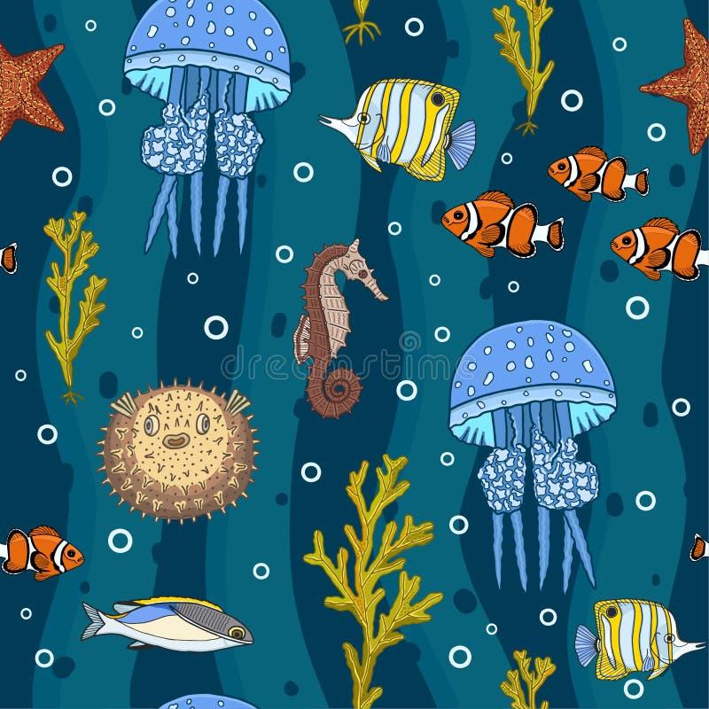 Kleurrijke onderwater diep ziet naadloos patroon royalty-vrije illustratie