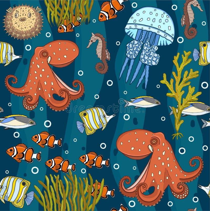 Kleurrijke onderwater diep ziet naadloos patroon stock illustratie
