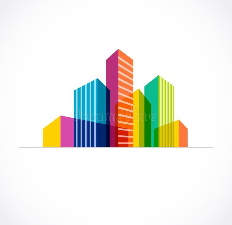 Kleurrijke onroerende goederen, stad en horizonpictogram royalty-vrije illustratie