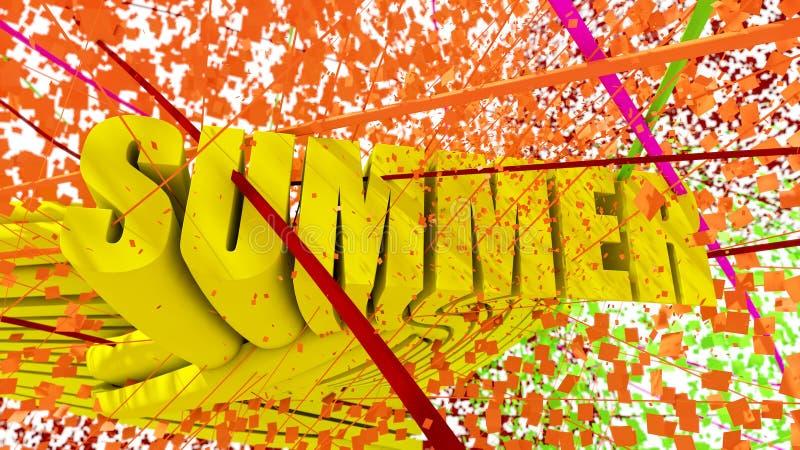 Kleurrijke ontwerp van de de zomer 3d tekst royalty-vrije illustratie