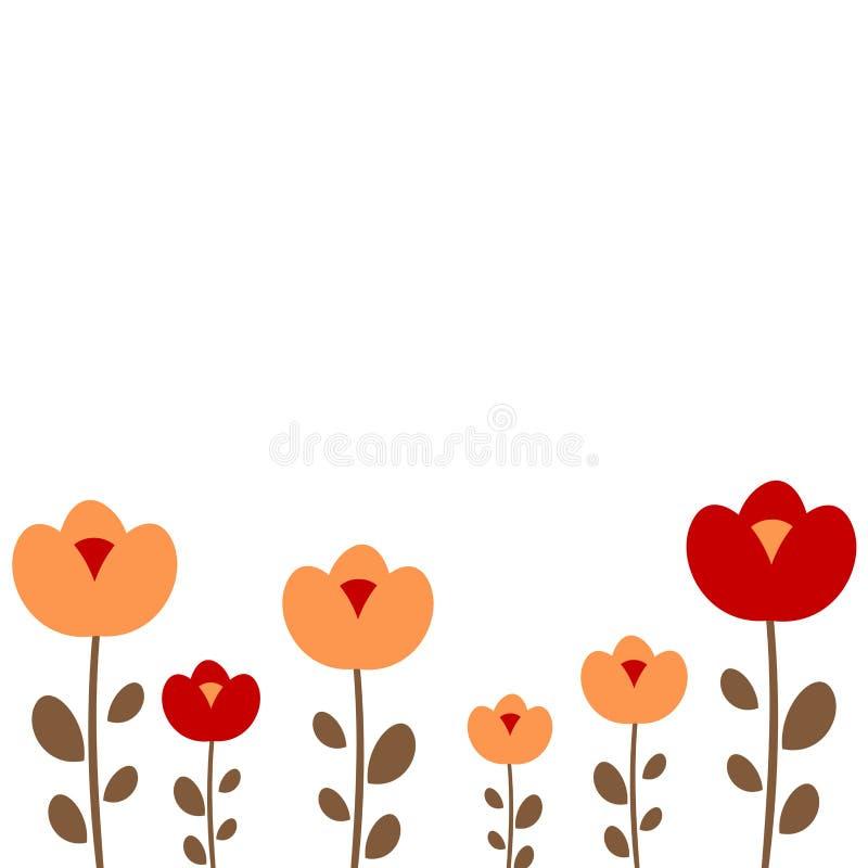 Kleurrijke oranje en rode bloemen op het witte malplaatje van de achtergrond leuke kaderkaart voor groet, uitnodiging en nota's vector illustratie