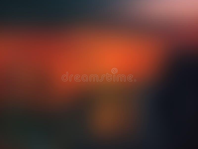 Kleurrijke oranjerode en donkergroene abstracte achtergrond met vignet Illustratie stock fotografie