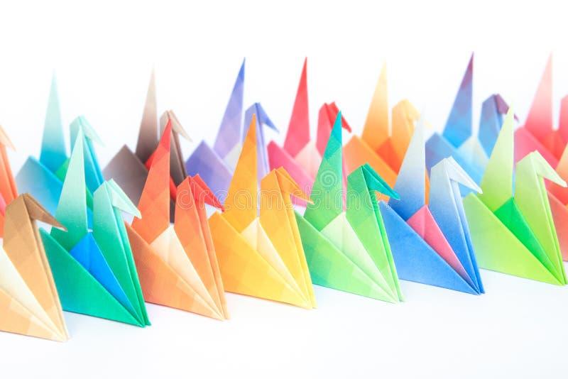 Kleurrijke origamivogels stock fotografie