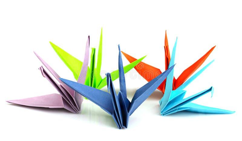 Kleurrijke origamivogels stock afbeeldingen