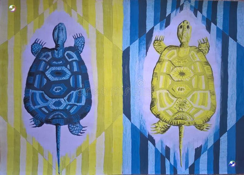 Download Kleurrijke Originele Tempera Die - Schildpadden Schilderen T-shirt, Manierdruk, Affiche, Enz. Stock Illustratie - Illustratie bestaande uit origineel, decoratief: 114227098