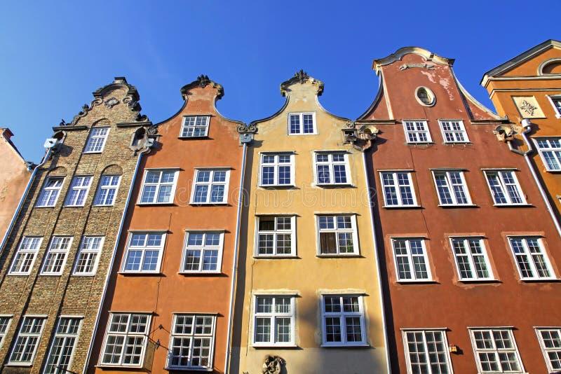 Kleurrijke oude gebouwen in Stad van Gdansk, Polen stock foto