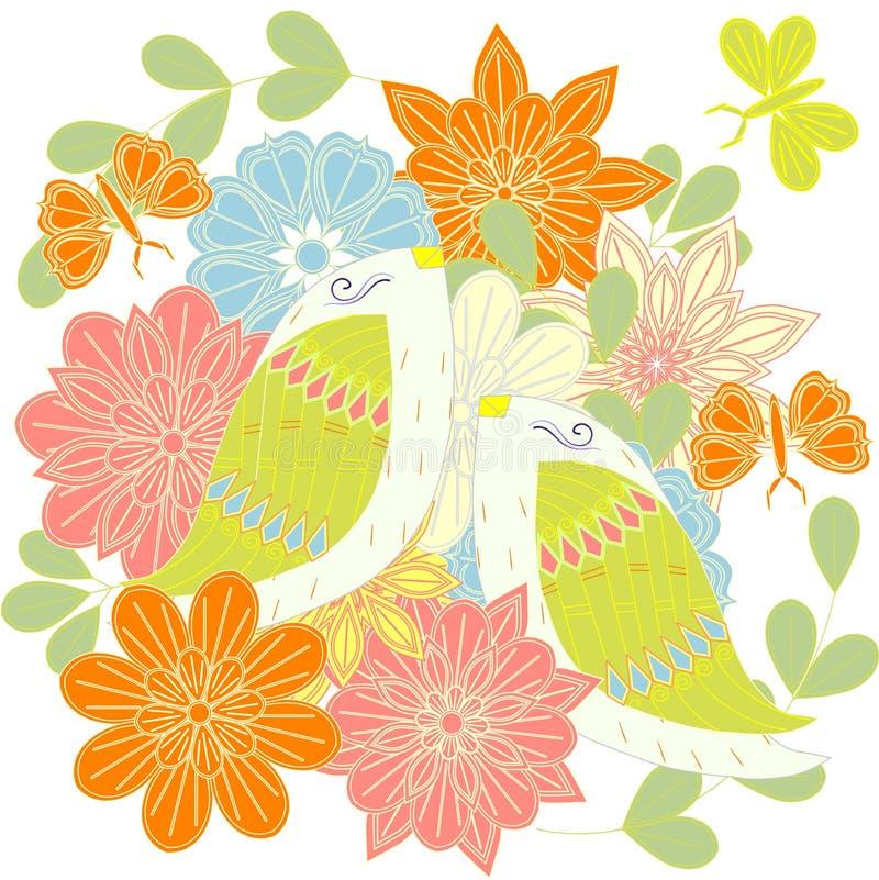 Kleurrijke paar het houden van vogels op bloemenachtergrond, vlinder voor druk, voor verfraaid, voor huwelijk royalty-vrije illustratie