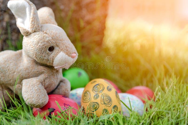Kleurrijke paaseieren en weinig konijntje op grasachtergrond Het concept van de de lentevakantie stock fotografie