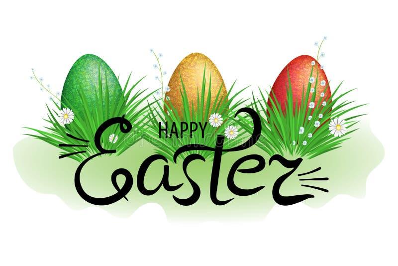 Kleurrijke paaseieren in groen gras met bloemen en het van letters voorzien gelukkige Pasen Element voor feestontwerp Vector vector illustratie