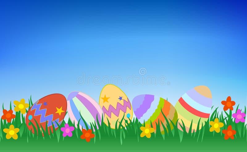 Kleurrijke Paaseieren op Grasillustratie vector illustratie