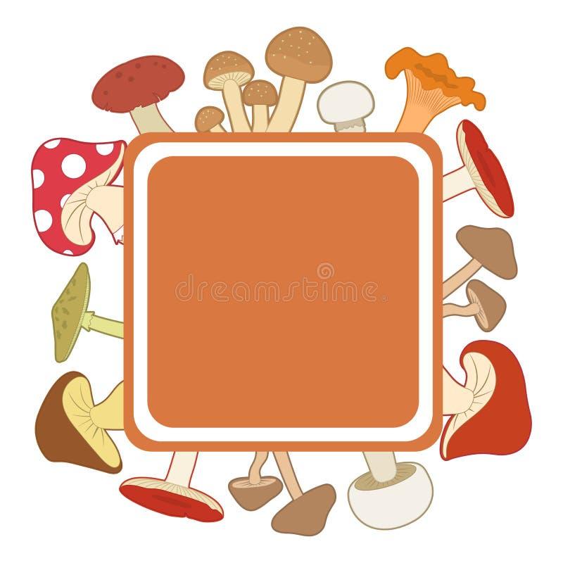 Kleurrijke paddestoelen rond een oranje kader, vectorillustratie royalty-vrije illustratie